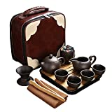 CAISANG Travel Tea Sets 12 PACK Ceramic Teapot, Chinese Tea Pot Cup Set with Tray Infuser,Purple Clay Teapot,Teacups,Tea Canister,Bamboo Tray in One Tea Gift Bag for Outdoor Home Business