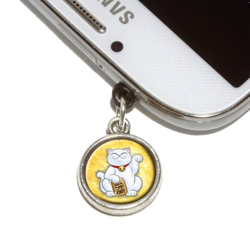 Lucky Beckoning Cat Maneki Neko Fortune Japanese Kawaii Mobile Phone Jack Charm Universal Fits iPhone Galaxy HTC