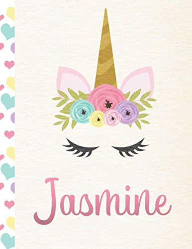 Jasmine: Personalized Unicorn Activity Book. Paper and Pencil Games Book For Girls. 500+ Individual Games - Hangman, Tic Tac Toe, Dots and Boxes, Four In a Row, Sink The Ships