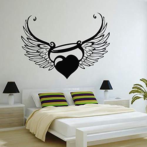 Angel Aura Tatuajes de Pared Amor Corazón Alas Ventana Adhesivo Niños o Pareja Dormitorio Nursery Art Decoración para el hogar Vinilo Tatuajes de Pared