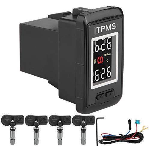 Akozon TPMS Sistema de presión de neumáticos (inalámbrico, IP5K4K, resistente al agua,LCD,sistema de control de la temperatura del coche,sistema de control de tiempo real,con 4 sensores integrados)