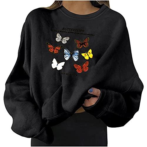 Sudaderas para Mujer Lindo Estampado De Mariposas Cuello Redondo SuéTer Suelto SuéTer Informal De Manga Larga Blusas Tops
