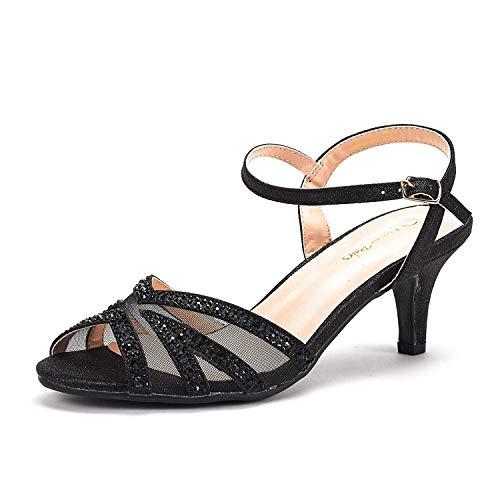 DREAM PAIRS Women's Nina-166 Black Low Heel Pump Sandals - 9 M US