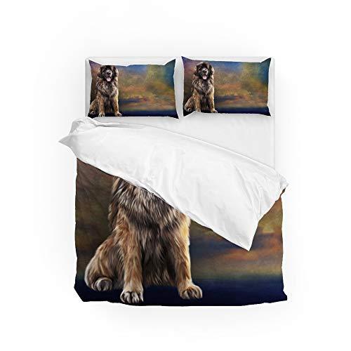 MyDaily Leonberger H&e-Bettbezug-Set, 3-teilig, Mikrofaser, Kissenbezüge, Steppdecke, Bettwäsche-Set für King-Size-Betten