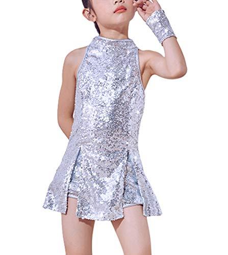 Traje de Baile de Lentejuelas para niñas Ropa de Baile de Hip Hop Conjunto de Traje de Vestido de Baile Brillante