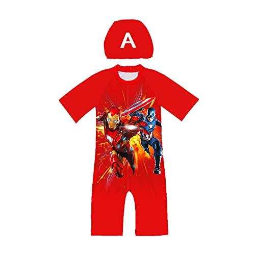 MYYLY Avenger Cosplay Garçon Spiderman Maillot Bain Été Plage Natation Costume Enfant Shorts Manches Combinaison UV Protection Anti-éruption Combinaison,Red-M Kids (115~125CM)