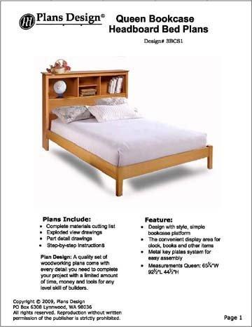 Reina–Estantería para libros cabecero de cama carpintería proyecto Planes, # 3bcs1por diseño de Planes