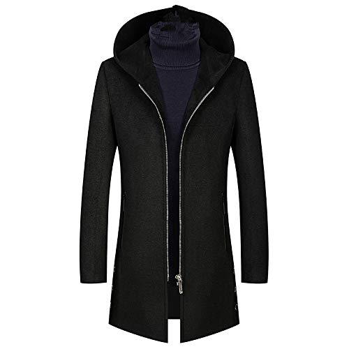 qulvyushangmaobu Herren Wolljacke Lässig Einreihiger Reißverschluss Trenchcoat Oberbekleidung Herren Trenchcoat Winter Long Jacket Button Closer Overcoat