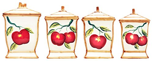 Hand Painted Tuscany Red Apple Canister Set