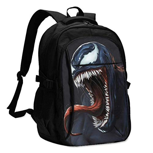 Venom Backpack Travel Laptop Backpack with USB Charging Port Headphone Interface College Bookbag for Women Men Boys Business Travel Anti Theft Backpack