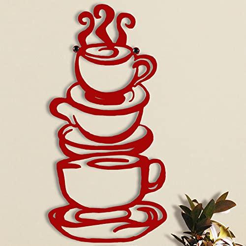 Coffee Cup Metal Wall Art, Farmhouse Kitchen Restaurant Decor Coffee Bar Sign, Red