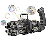 Gatling Bubble Machine Eight-Hole Huge Amount Bubble Maker Electric Automatic Bubble Machine for Kids 2021 Cool Bubble Guns Outdoor Toys for Boys and Girls (Black)