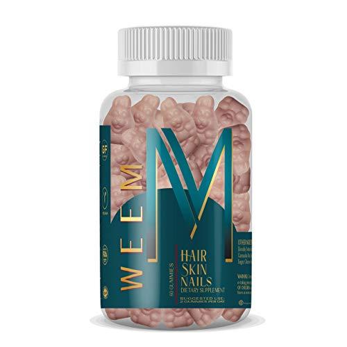 WEEM Hair Skin and Nails Gummies - Supports Healthy Hair - Vegan biotin Vitamins for Women & Men Supports Faster Hair Growth, Stronger Nails, Healthy Skin, Extra Strength 10,000mcg