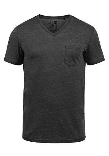 !Solid Theon Herren T-Shirt Kurzarm Shirt Mit V-Ausschnitt, Größe:XXL, Farbe:Black (9000)