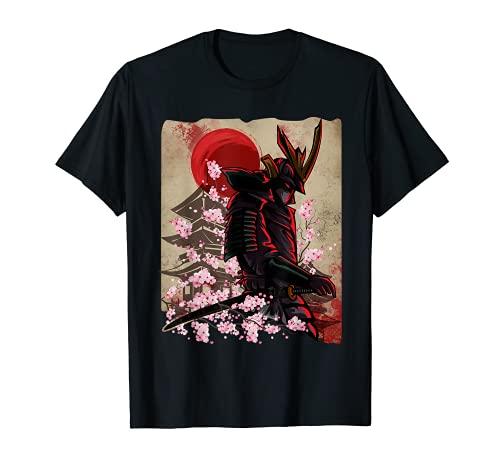 Samurai giapponese, ronin, con spada katana. Retro Vintage stile arte giapponese con sfondo antico tempio. Per uomini e donne che amano l'arte, la storia e la cultura del Giappone. Japanese Samurai, ronin, with katana sword. Retro Vintage Japan art s...