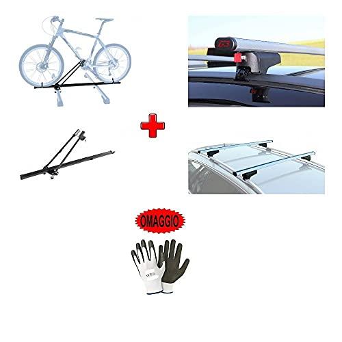 Compatible con Opel Mokka 5p 2014 Barras portaequipajes para techo de coche de 110 cm de aluminio + portabicicletas de techo para 1 bicicleta para reequipamiento altos y bajos