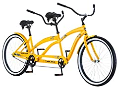 "Designed with 26-inch wheels, this bike fits riders 5'4"" to 6'2"" in height Hi-Ten steel Kulana tandem frame with oversized fork Single speed drivetrain is easy to use and maintain Rear coaster brakes eliminate cables, keeping the bike neat and sleek ..."