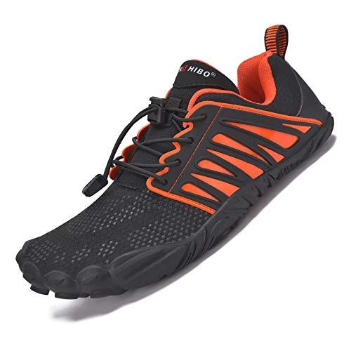 JACKSHIBO Chaussures pieds nus pour homme et femme - Chaussures d'été à séchage rapide - Respirantes - Antidérapantes - Chaussures de trekking et de trail - - B noir orange, 43 EU