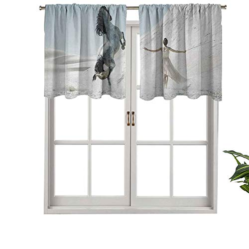Hiiiman Cortinas cortas y elegantes con bolsillo para barra, diseño de mujer con caballo blanco que se eleva, juego de 1, 127 x 45 cm, decoración para cuarto de baño/dormitorio/sala de estar