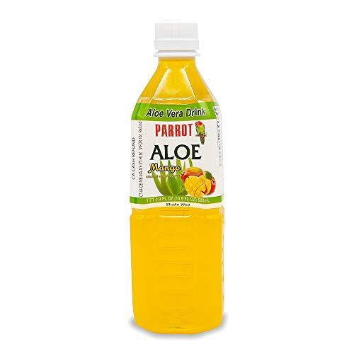 Parrot Brand Aloe Vera Juice Drink Mango Flavor 500mL 16.9 Ounce (Pack of 10)