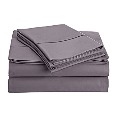 Thread Spread True Luxury 100% Egyptian Cotton - Genuine 1000 Thread Count 4 Piece Sheet Sets - Fits Mattress Upto 18'' Deep Pocket (Queen, Plum)