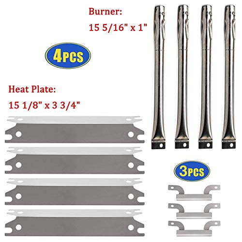 Grill Replacement Parts for Brinkman Brinkmann 810-2410-S 810-2411-S, Stainless Steel Burner Tubes, Heat Plate Shields and Carryover Crossover Burner Tubes Replacement for Brinkmann Gas Grill Models