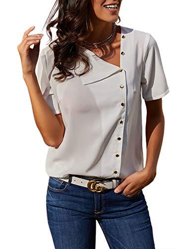 Lovezesent Womens Casual Loose Button Down Blouses Formal Turndown Collar Short Sleeve White Office Shirt Chiffon Tops for Work Medium