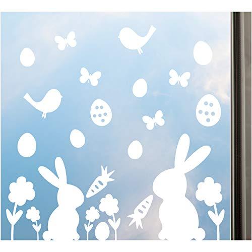 Fensteraufkleber Ostern, Fenster Deko Set, 27-tlg, Fensterbild mit Osterhase, Ostereier, Blumen, Schmetterlinge uvm., ablösbar & wiederverwendbar!