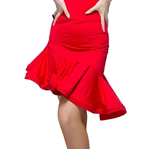 my cat Falda de danza latina para adultos roja negra irregular falda de baile práctica ropa de baile