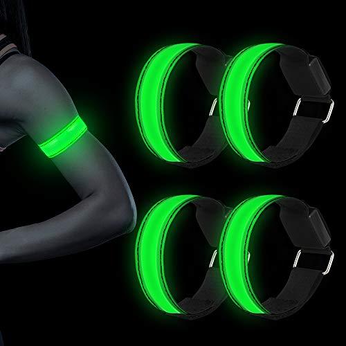 LED Armband, 4 Stück Reflective LED leucht Armbänder Lichtband Kinder Nacht Sicherheits Licht für Laufen Joggen Hundewandern Running Outdoor Sports-Grün
