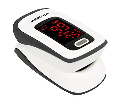 Fingertip Pulse Oximeter, Blood Oxygen Saturation Monitor (SpO2) with Pulse Rate Measurements and Pulse Bar Graph, Portable Digital Reading LED Display, Batteries Included