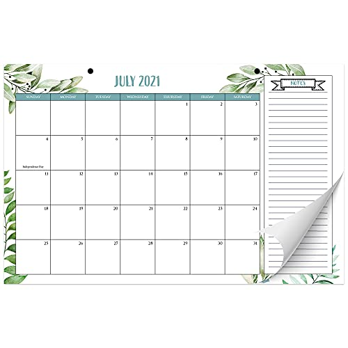 "Aesthetic Greenery Desk Calendar 17""x11"" - Desktop/Wall Calendar for Easy Planning - Runs from June 2021 until December 2022"