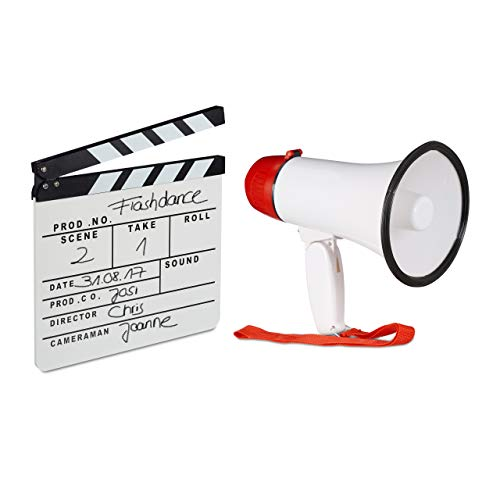 2 TLG. Film-Set, Megafon Stadion, Filmklappe weiß, Flüstertüte 10 Watt, Regieklappe Holz, Megaphon Ole Sound, Clapboard