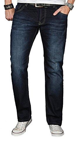 A. Salvarini Designer Herren Jeans Hose Jeanshose Regular Comfort gerades Bein, 36W / 32L, Night Blue