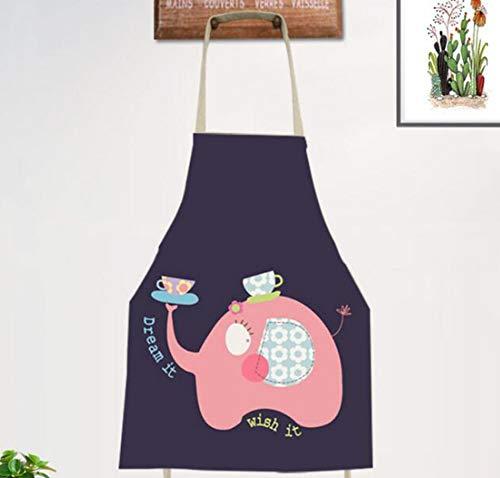 JZZCIDGa Kleidung Personalisierte Backschürzen Niedlicher Cartoon Elefant Und Tasse Weiche Baumwollwäsche Für Frauen Männer - Kochchef Schürze - Ideale Geschenkidee Für Damen