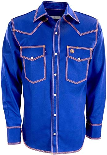 Western Welder Outfitting - Welding Shirt Western Style   Light Weight Tripled-Stitched Welding Shirts, Relaxed Fit, Non FR (XL, Blue/Orange)