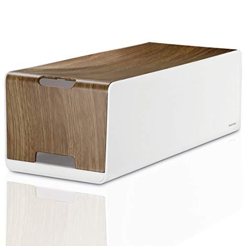 Hama Kabelbox Woodstyle Maxi in Holzoptik, (Kabelmanagement40 x 16 x 13 cm (B x T x H), mit Kabelclips und Gummifüßen) weiß