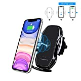 MiaodaM 360° Swivel Smart Sensor Auto Clamping Qi Wireless Car Charger,Automatic Phone Holder Fast Charging Car Mount Compatible for 4'' to 6.5'' Cell Phone iPhone Samsung Other Qi-Enabled Devices