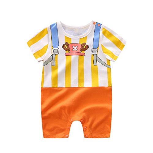Baby Rompers Boys Girls Infants ONE Piece Cartoon Outfits Button Cotton Jumpsuit Short Sleeve White&Orange 12-18 Months/90
