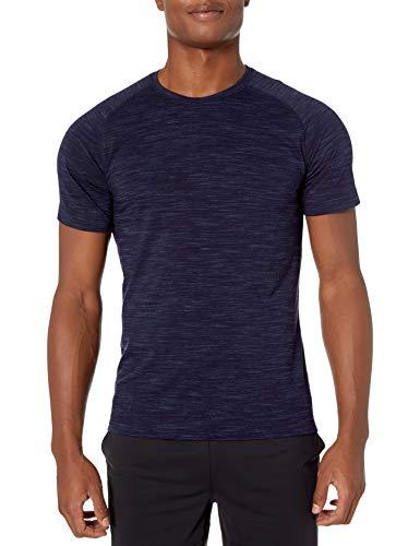 Amazon Brand - Peak Velocity Men's Merino Wool Jersey Short Sleeve Crew Neck T-shirt, Navy Melange, X-Large