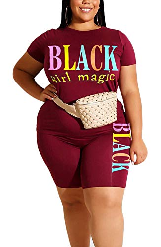 Women Shorts Tracksuit Sets Outfits Short Sleeve Black Girl Magic Print T Shirt Tops Bodycon Shorts Tracksuit Wine Red 3XL
