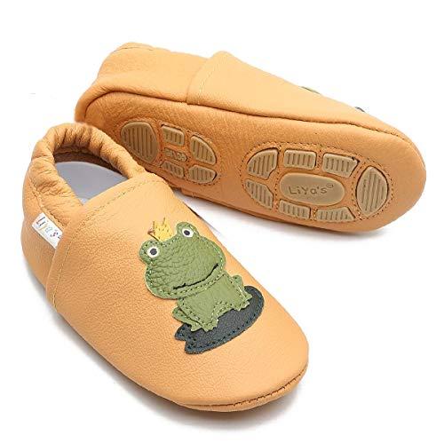 Liya's Babyschuhe Hausschuhe Exclusiv mit Gummisohle - #687 Frosch in safrangelb - Gr. 25/26