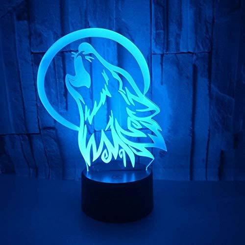 Éclairage Pour Enfants 3D Der Wolf Hund Lampe Illusion Optique Led Veilleuse Optiques Illusions Lampe De Nuit 7 Couleurs Tactile Lampe De Chevet Chambre Table Art Déco Enfant Lumière De Nuit Avec Cab