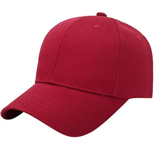 Baseball Cap Basecap Piebo Unisex Baseball Kappen Baseball Mützen für Draussen Sport oder auf Reisen Reine Farbe Baseboard Baseballkappe Kappe Mütze (Z-Rot)