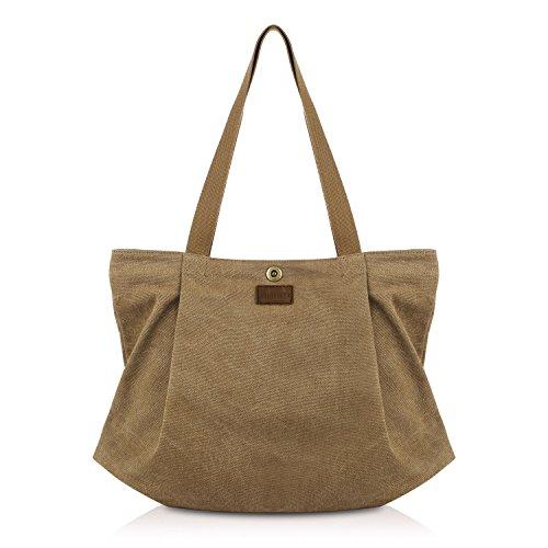 SMRITI Canvas Shopper Tasche Schultertasche für Schule Reisen Arbeit und Einkäufe, Kaffee, Groß