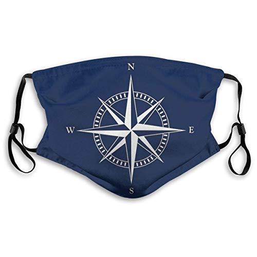YYTT8 Gesichtsschutz Mundschutz Nautischer Stern Kompass Maritim Nautische Dekoration, Kopfbedeckung mit Hut-Hals-Gamasche und austauschbaren Filtern