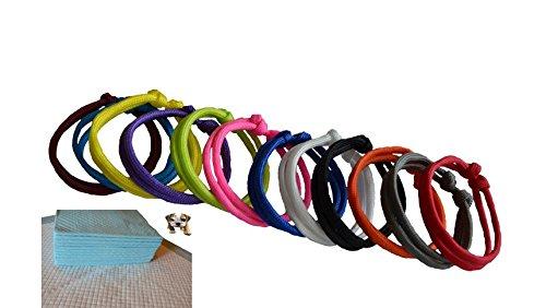 12 Stück Welpenhalsbänder Markierungshalsband Welpenband Handmade verstellbar mitwachsend aus Paracord + 1 Welpenunterlage gratis