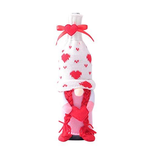 Fugift Bolsa para botella de vino con gnomo sueco para el día de San Valentín, decoración de mesa para fiestas de familia, regalos de Navidad