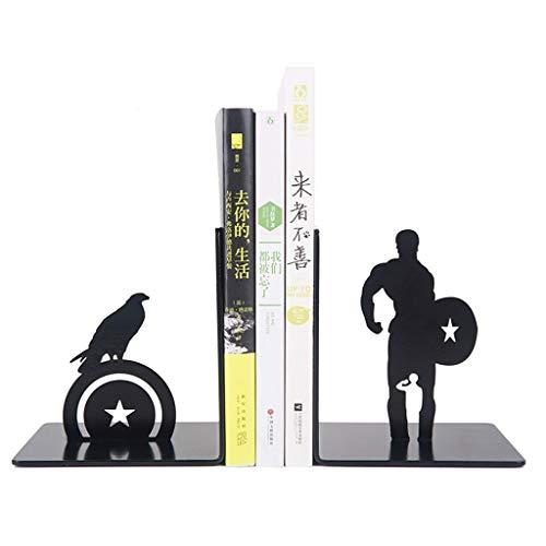Desktop Buchstützen Dekorative Kreative Marvel Captain America Metall Schreibtisch Steht Buchstützenhalter Büro Schule Geschenk Student Schwere Bücher Kreativ und einfach (Color : Black)