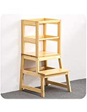 WOOD CITY Sturdy Wood Toddler Tower, Safe Kids Kitchen Stool with Non-Slip Mat, Baby Loves Learning Step Stool for Kitchen Counter & Bathroom Sink